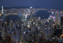Hong Kong - skyline vanaf 'the peak' , bij blauw uurtje