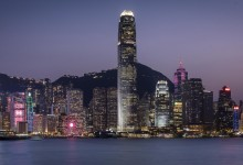 Hong Kong - zicht op de prachtige skyline - blauw uurtje